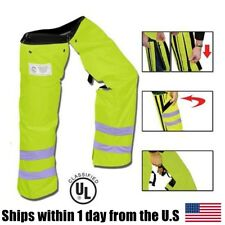 Zipper Style Chainsaw Chaps Protective Leg Pants Safety Green Reflect Arborist