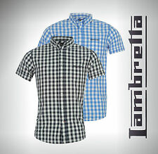 Mens Lambretta Checked Check Cotton Shirt Short Sleeve Top Size M L XL XXL