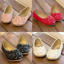 Nice Kid Toddler Girls Princess Flowers Sweet Soft Leather Flat Shoes Party Shoe