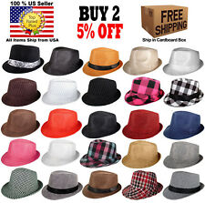 Women Men Fedora Hat Trilby Cuban Upturn Short Brim Hat Panama SIZE SMALL MEDIUM