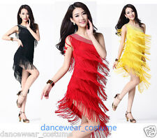 Latin Tango Rumba Samba Ballroom Salsa Dance Dress Fringes Tassels Skirt 8Colors