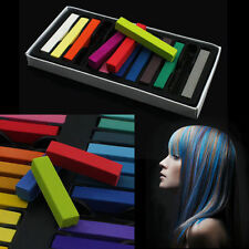 12/24 Colorful Hair Chalk Temporary Hair Dye Color Kit Pastels Colours Salon Kit