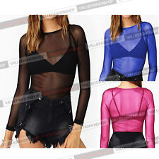 Womens Clubwear Pure Mesh Sheer See Through Long Sleeve Shirt Tee Blouse Top 799