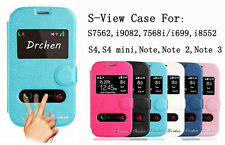 S-View Leather Stand Case Flip Cover for Samsung Galaxy S3 S4 mini S5 Note 2 3 4