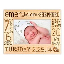 Birth Announcement Frame Personalized With Name, Stats, Color, and Size