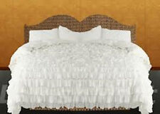 1000TC 3PC Designer Waterfall Ruffle Duvet Cover set 100%Cotton All size & Color