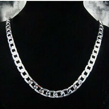"""Cool 925Sterling Silver 10MM Flat Sideway Strong Men Chain Necklace 18""""-24"""" N005"""