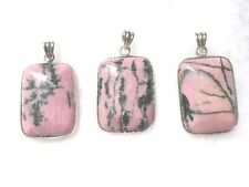 Rhodonite pendant natural picture 18x25mm pillow beads 1 1/4""