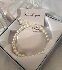 WEDDING PEARL CHARM BRACELET GIFT & BOX WEDDING CHARMS HEARTS THANK YOU PRESENT