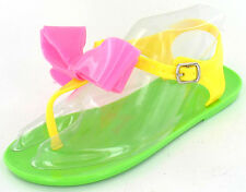 *SALE* GIRLS SPOT ON GREEN/PINK/YELLOW TOE POST CASUAL BOW DETAIL SANDAL H0109