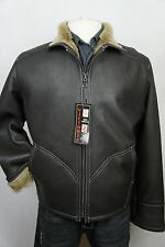 New Men 100% Real Shearling Leather Sheepskin Car Aviator Coat Jacket S-8XL