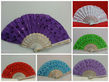 New Style Embroidered Fabric Folding Hand Held Fan Sequins Party Bridals