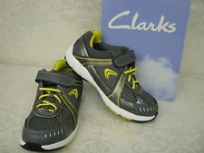 Clarks Cica Air Compete Grey Leather & Textile Active Air Velcro Sports Trainers