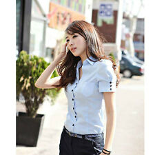 Career Lady Cotton Shirt Size S-2XL Fashion Formal Women Career Blouse D1237