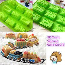 Fondant Silicone Cake Mould 3D 9 Cav Train Biscuit Soap Tool Baking Decorating