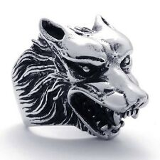 Men's Silver Stainless Steel Wolf Head Biker Ring Size 7-15 SR57