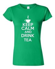 Junior Keep Calm And Drink Tea Beverages Novelty Statement T-Shirt Tee