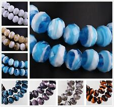 New 10pcs 12mm Two Color Mix Rondelle Faceted Lampwork Glass Charms Loose Beads