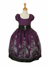 Special Occasion Girls Dress, Flower Girl Dress, Bridesmaid Party Purple & Black