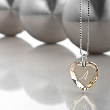 Children's Necklace 925 Silver SWAROVSKI ELEMENTS Heart and Letter engraving