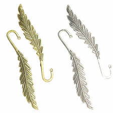 2 Feather Design Bookmarks Antique Gold / Silver Base, Create your own Bookmark