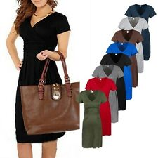 Womens Pop Maternity Elegant Office OL V neck Short Sleeve Stretch Dress S-XL