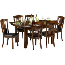 Mahogany Finish Extending Extendable Dining Table and Chair Set with 4/6 Seats