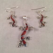 Sterling Silver Inlay Gecko Hook Dangle Set