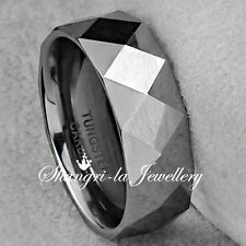 COOL MENS TUNGSTEN CARBIDE DIAMOND CUT WEDDING RING BAND 8MM NEVER TARNISH JS022