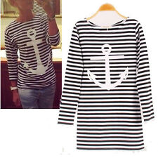 Ladies Korean Round Neck Long Sleeve Slim Casual Tops Striped Blouse T-shirt