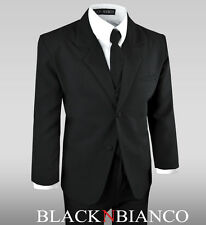 Formal or Casual Boy Kids Suit in Black Tuxedo Set All Sizes