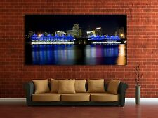 Wall Art Canvas Picture Print - Port of Miami Skyline at Night 2.1