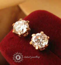 White Gold Plated/Clear Round Swarovski Crystal Stud Earring/RGE407/086/413