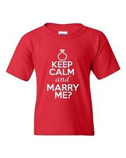 Keep Calm And Marry Me Wedding Marriage Novelty Statement Youth Kids T-Shirt Tee