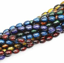 Bead string(90pcs)Glass Oval Loose Beads Abstract Pattern 6Colors 10x6mm For diy