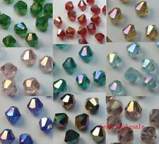 100pcs AB Color glass crystal bicone loose spacer beads 4mm U Choose