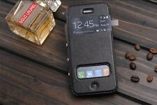 Hot Flip PU Design With Windows High Quality Leather Phone Case For iPhone 5 5S