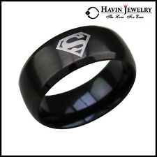Hot! Men's Black 316L Stainless Steel Superman Sheild Band Rings Sizes 7-13 Free