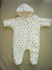 Girls Mothercare Velour Snow / Pramsuit (Ages Newborn, 0-3, 3-6 & 6-9 Months)