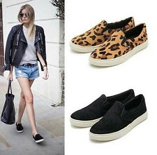 Women fashion Casual Flat Leopard Loafers Slip on Ball Shoes Elastic shoes N069