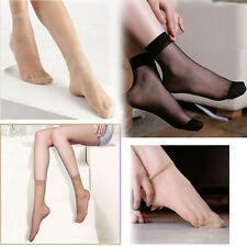 10 Pair Thin Elastic Stockings Women Ankle Silky Short Silk Socks Beige Black