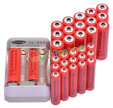 16x AA 3000mAh + 16x AAA 1800mAh 1.2V Ni-MH Red Rechargeable Battery +Charger