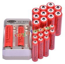 12x AA 3000mAh + 12x AAA 1800mAh 1.2V Ni-MH Red Rechargeable Battery +Charger