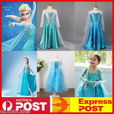 NEW Frozen Queen Elsa Costume Party Birthday Fancy Dress With Cape Size 3-9