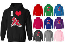 Womens I Love Hi Tops Shoes Converse Style Pullover Hoodie NEW UK 12-20