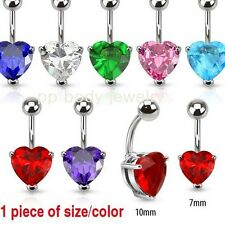 """1pc. 14G~3/8""""- 7mm & 10mm Heart C.Z. Prong Set 316L Surgical Steel Navel Ring"""