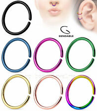"1pc. 20G~1/4"", 5/16"", 3/8"", 7/16"" Anodized 316L Steel Seamless Clip On Nose Hoop"