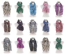 Small Floral Print Girls Light Weight Wrinkled Multi Tones Scarf Wrap Scarves