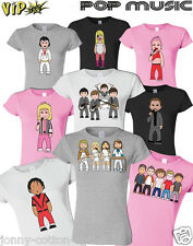 VIPwees Ladies T-Shirt Womens Pop Music Inspired Caricatures Choose Your Design