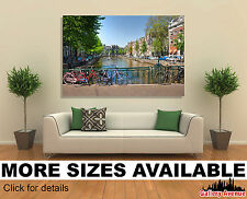 Wall Art Canvas Picture Print - Amsterdam Canal and Bike 3.2